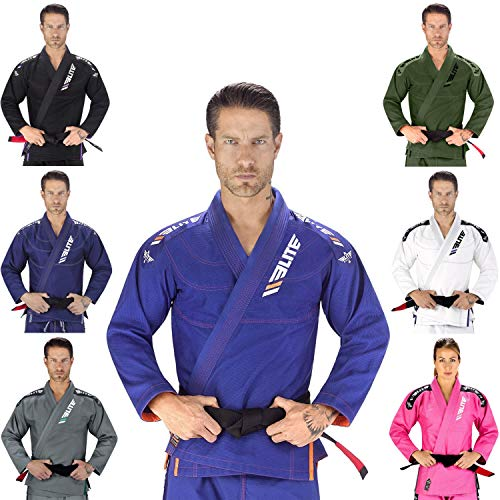 Elite Sports New Item IBJJF Ultra Light BJJ Brazilian Jiu Jitsu Gi w/Preshrunk Fabric & Free Belt (Blue, ()