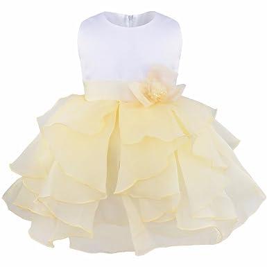 8fc45ae4c173c IEFIEL Organza Robe Baptême Bébé Fille Volantés Fleur 3 Mois - 3 Ans Beige  3-