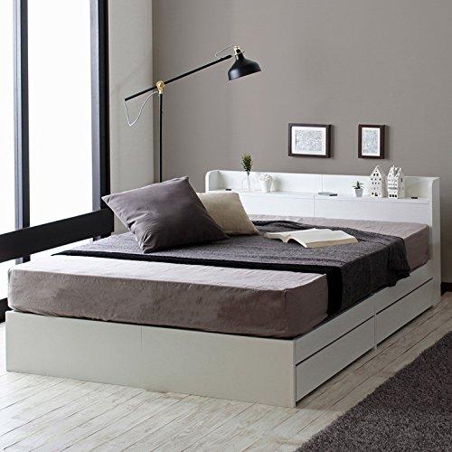 おしゃれ シンプル 白い収納ベッド 【フレームのみ マットレス無し】セミダブル B07568TB3W セミダブル  セミダブル