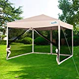 Quictent 10x10 Ez Pop up Canopy with Netting Gazebo Mesh Side Wall Screen House with Carry Bag Tan (with Groundsheet)