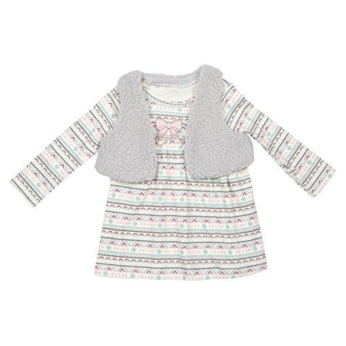 Baby Gear Infant Girl Aztec 2Pc Long Sleeve Dress with Sherpa Shrug Set - Cheetah Girls Pics
