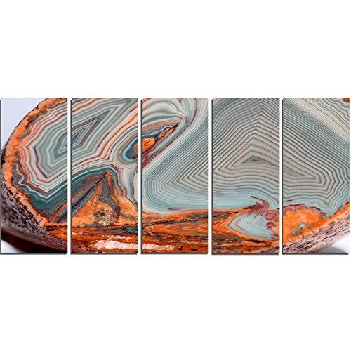 Design Art PT14364-60-28-5PE 5 Panels Beautiful Lake Superior Agate Modern Abstract Canvas Print, 60 x 28'' by Design Art