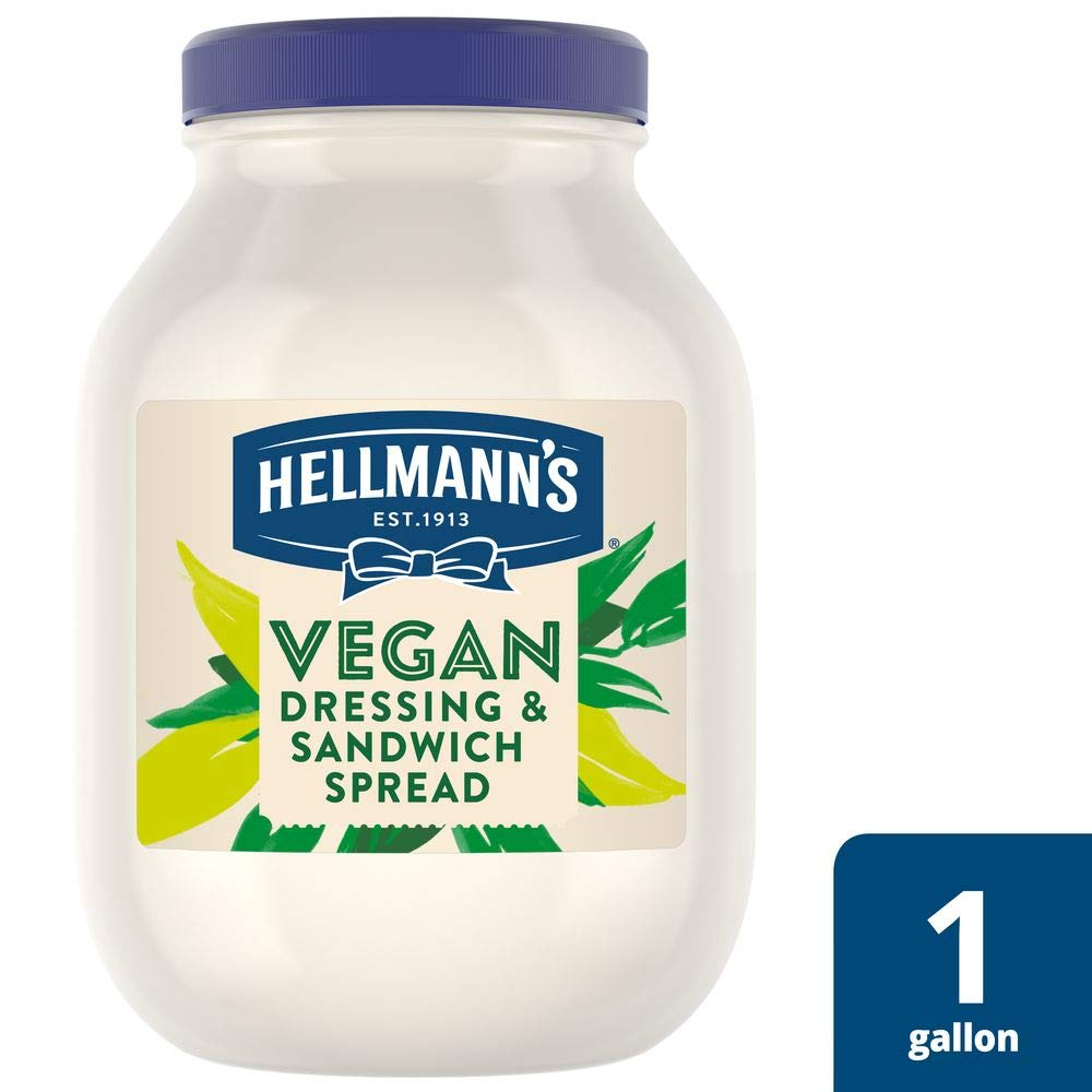 Hellmann's Vegan Mayonnaise Jar Made with Non GMO Sourced Ingredients, No Artificial Flavors or Colors, No Cholesterol, Gluten Free, 1 gallon, Pack of 4 by Hellmann's