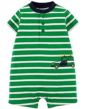 Just One You Baby Boys' Striped Car Romper – Green