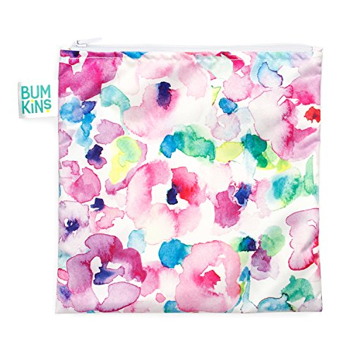 Bumkins Reusable Snack Bag, Watercolor, Large