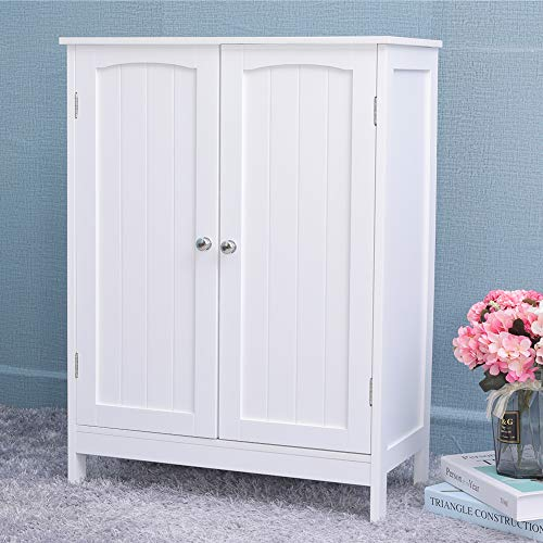 IWELL Bathroom Floor Storage Cabinet with 2 Adjustable Shelf, 6 Heights Available, Free Standing Kitchen Cupboard, Wooden Storage Cabinet with 2 Doors, Bookcase, Shoe Storage, White YSG003B
