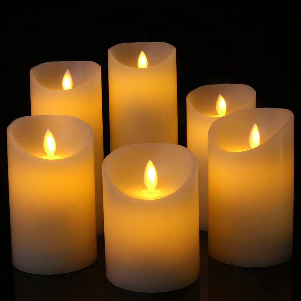 Flameless Candles Flickering Light Pillar Real Smooth Wax with Timer and 10-key Remote for Wedding,Votive,Yoga and Decorationset of 6 by ZTD (Image #5)