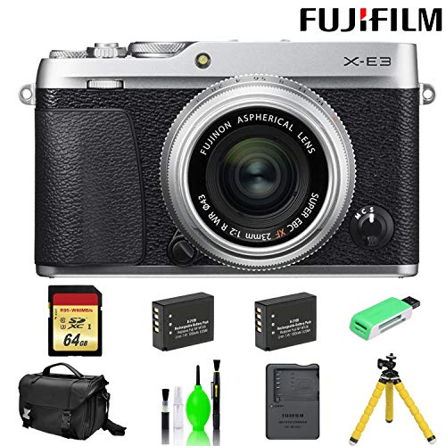 Fujifilm X-E3 Mirrorless Digital Camera with 23mm f/2 Lens (Silver) with 64 GB Card + Mega Accessory Kit