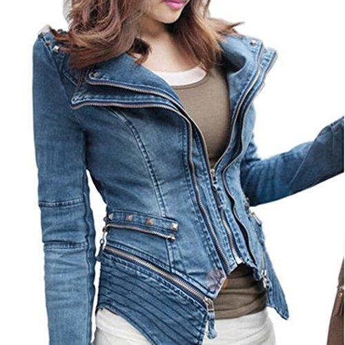 Jacket De Style Up Jean Denim Casual Veste Epaulette De Novelle ZEARO Femme Soire Rivet Zipper Bleu Manteau wO5BFXxq