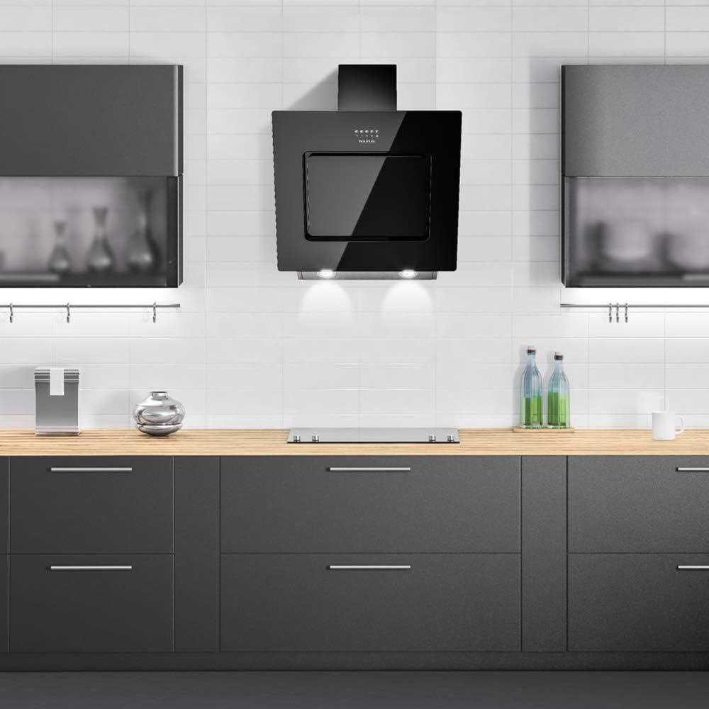 Taurus Black Glass - Campana extractora decorativa 60 cm de 750 m3/h, 3 niveles de extracción, iluminación LED, 1 filtro 5 capas, vidrio, color negro: Amazon.es: Grandes electrodomésticos