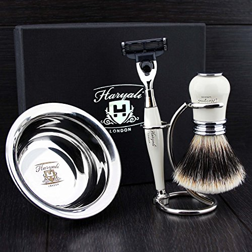 4 Pcs Men's Shaving Set In Ivory Colour ft Gillette Mach 3 Razor(Replaceable Head) ,Sliver Tip Badger Hair Brush, Dual Stand for Both Razor&Brush,Stainless Steel Bowl .New.Perfect Gift Kit for Him