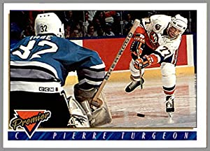 1993-94 Topps Premier #190 Pierre Turgeon NEW YORK ISLANDERS vs. SAN JOSE SHARKS Arturs Irbe in goal