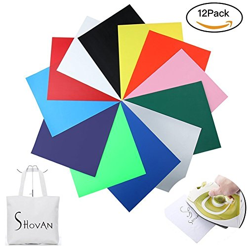 Heat Transfer Vinyl Sheet Iron on HTV for T Shirts,Hats,Clothing for Cricut and Silhouette Cameo -12 Pack(12''x 10'') by SS Shovan