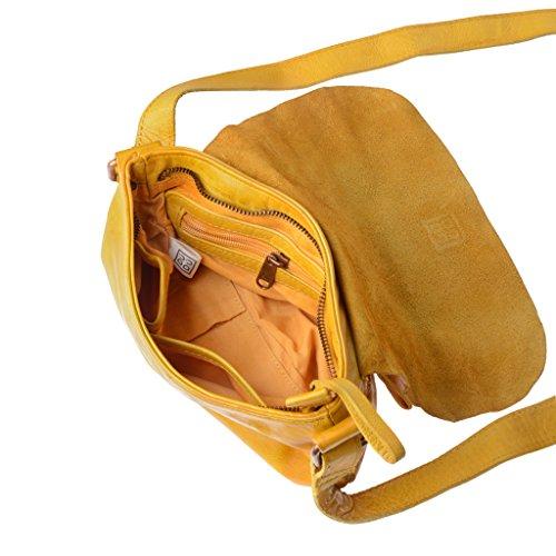 Borsa tracolla di morbida pelle tinta in capo con cinghia DUDU Saffron Yellow