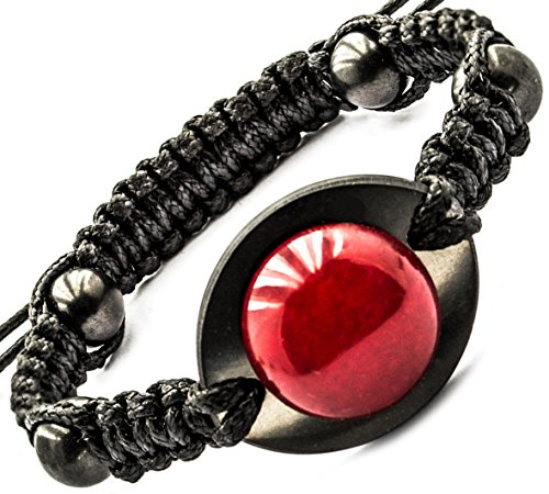 Shungite and Red Jade Strand Bracelet with Gemstone Bead, Chakra Balance, Adjustable Length, from 7.08