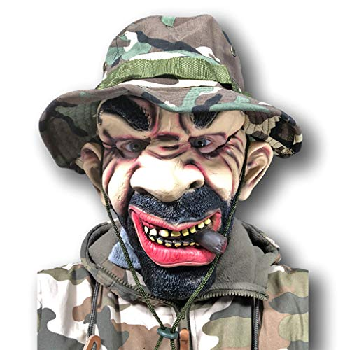 Rubber Johnnies Army Platoon Leader Soldier Mask, Camouflage Camo Hat Costume, Adult