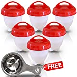 easy spoon - Best Egg Cooker Set – Hard And Soft Boiled Eggs Without The Shell, Silicone Boiler Cups, Non-Stick For Easy Pop Out, BPA Free Safe Egg Steamer For Healthy Cooking - With Egg Separator Spoon