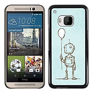 Planetar® ( Sad Balloon Robot Kids Sketch Depression ) HTC One M9 Fundas Cover Cubre Hard Case Cover