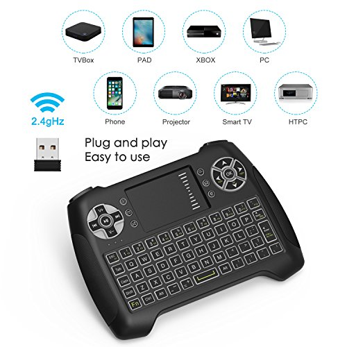 Mini Wireless Keyboard With Touchpad, Vive Comb 2.4G Rechargeable Backlit Handheld Remote Control Keyboard and Mouse Combo with Multimedia Keys for Android TV Box, PC, PAD, Smart TV, X-BOX, HTPC by vive comb (Image #1)