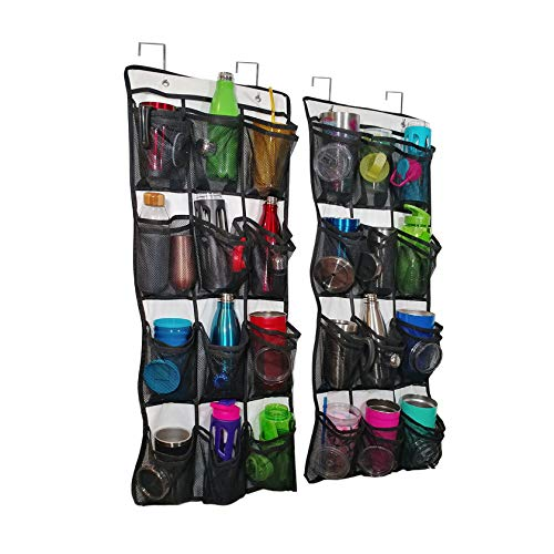 Over The Door Water Bottle, Travel Mug, Tumbler and Lid Organizer and Holder 2 Pack. Never Lose A Drink Cap Again. Pockets Keep Matching To Go Coffee Cups and Covers Together Saving Time and Space.