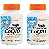 Doctor's Best High Absorption CoQ10 with BioPerine, Gluten Free, Naturally Fermented, Heart Health, Energy Production,100 mg 120 Softgels (2-BOTTELS)