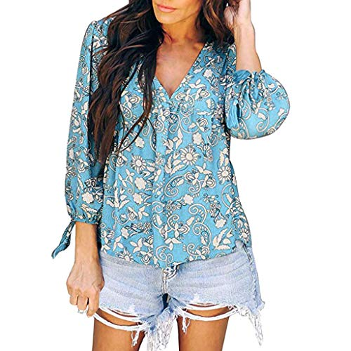 (【MOHOLL】 Women's Long Sleeve Tops Floral Print V-Neck Blouses Pleated Lace Shirt Top Casual Loose Shirts Light Blue)