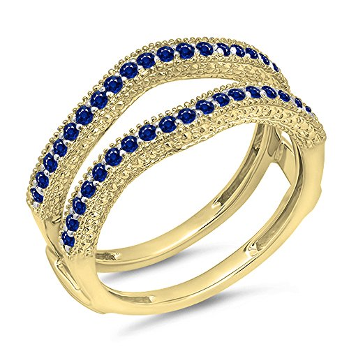 (0.45 Carat (ctw) 14K Yellow Gold Blue Genuine Sapphire Diamond Wedding Millgrain Guard Ring 1/2 CT)