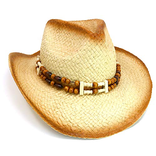 Skeleteen Western Straw Cowboy Hat - Straw Woven Cow Boy Hats Costume Accessories - 1 Piece ()