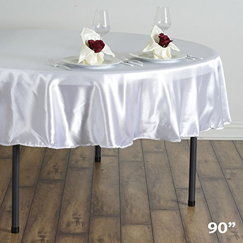 BalsaCircle 90 inch White Satin Round Tablecloth Table Cover Linens for Wedding Table Cloth Party Reception Events Kitchen Dining