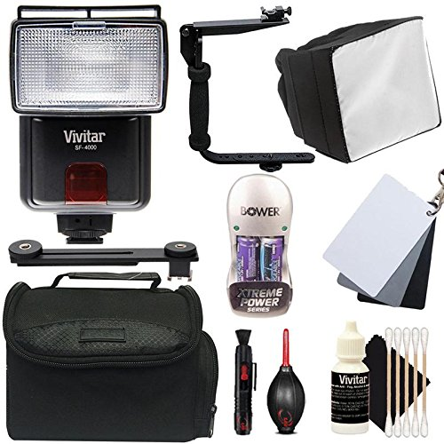 Price comparison product image Vivitar SF-4000 Bounce zoom Slave Flash with Ultimate Flash Accessory Bundle for Canon Digital SLR Cameras
