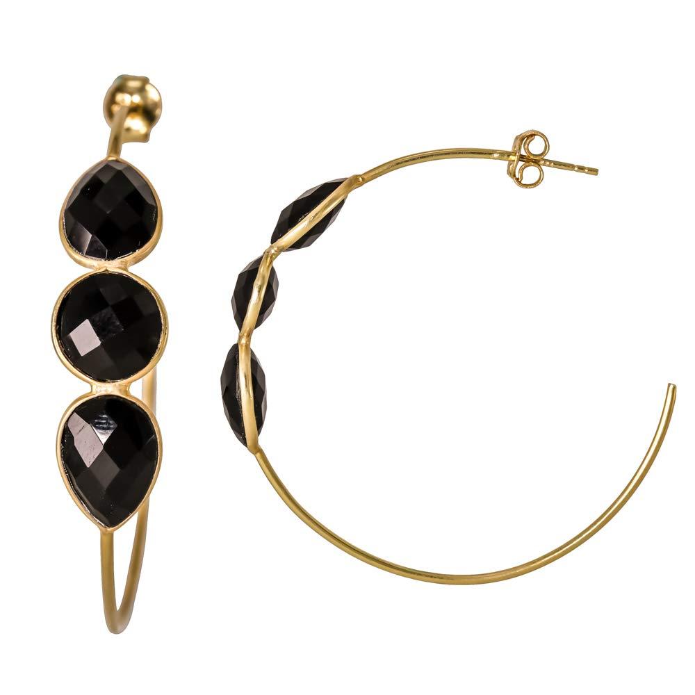 Black Onyx 18k Gold Plated 925 Sterling Silver Bezel Handmade Hoop Stud Earrings
