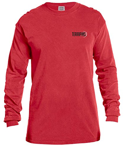 NCAA Maryland Terrapins Basketball Outline Long Sleeve Comfort Color Tee, Large,Red (Terps Basketball)
