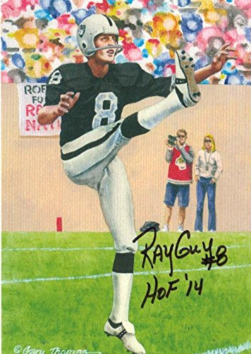 "Ray Guy Autographed Oakland Raiders 11519 Goal Line Art Card (black) ""hof 14 - NFL Autographed Football Cards"