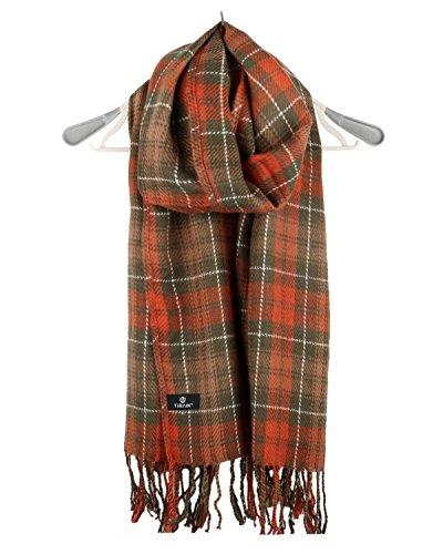 Tirain Women Autumn Winter Plaid Scarf Long Shawls Wraps with Tassel (Cashmere Silk Knit Tie)