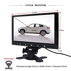 Portable LED Monitor, Car LCD Monitor 9 Inch Small Bus Monitor with 2 AV Inputs and Remote for Vehicle Reversing, Truck Backup Camera System, Car DVD, CCTV, Satellite Receiver in Black by Cnhopestar