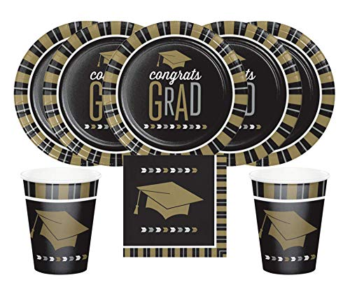 Black and Gold Graduation Party Supply Set with Plates Napkins Cups for 16 Includes Party Planning Guide