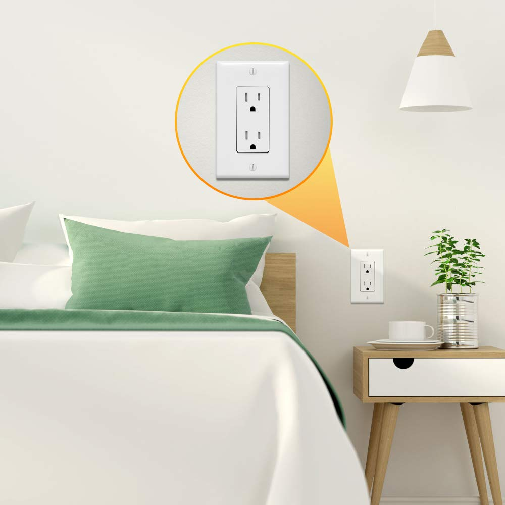 Outlet Covers, 1 Gang Decorator Wall Plates Light Switch Cover White Electrical GFCIs Receptacle Wallplate, Standard Size, Unbreakable Polycarbonate, 12 Pack by CRANACH (Image #4)