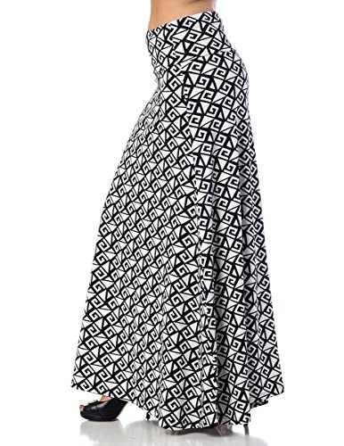 Printed Maxi Length A-line skirt with rollover waist - Gentile, L