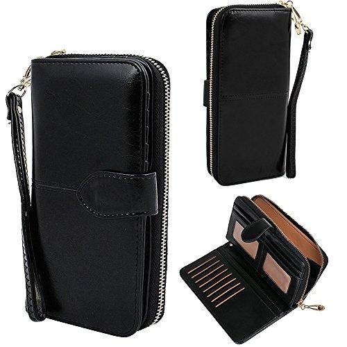 (xhorizon SR Women Large Capacity Leather Zipper Wallet Purse Wristlet Handbag)