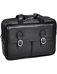 McKlein USA Genuine Leather 15.4 Double Compartment Laptop Briefcase-Black
