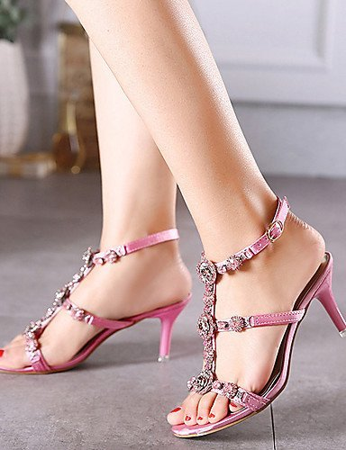 ShangYi Women's Shoes Synthetic Stiletto Heel Open Toe Sandals Dress Pink