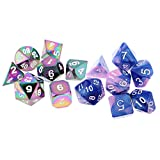 Fenteer Set/14PCS Zinc Alloy Board Game Dices Toy Polyhedral Dice 16mm for Dungeons and Dragons Dice RPG