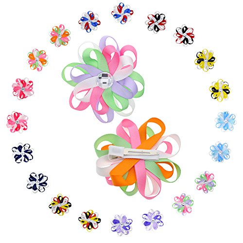 Babies Rhinestone Flower Hair Clip with Multicolored 2-layer Eight Petals -10 Pairs & 3 Inch - Flower Petal Layers