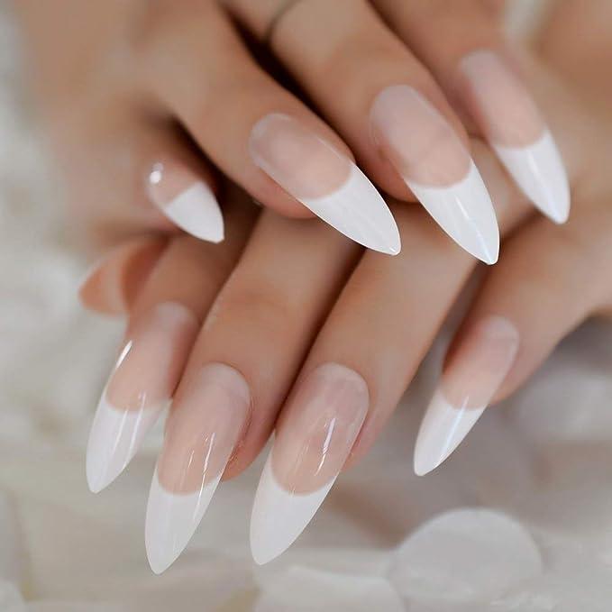 EchiQ - Uñas postizas extra largas y afiladas de color blanco y rosa ...
