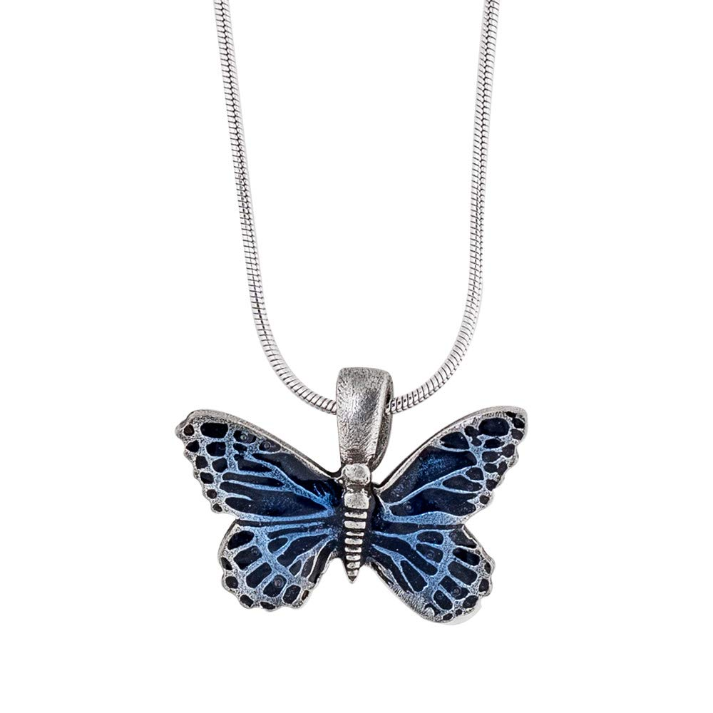 18 Inch Handcrafted Made in USA Butterfly//Blue Snake Chain Pewter Necklace Danforth
