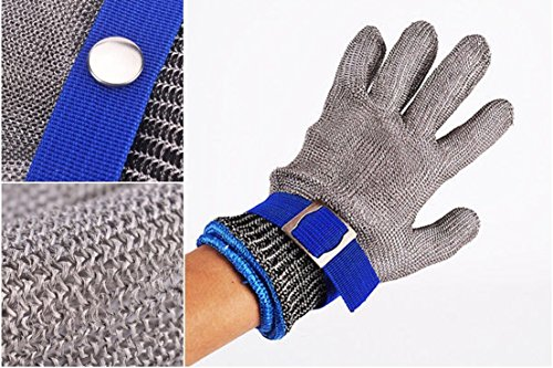 1-Set (Not a Pair) Topnotch Popular New Stainless Steel Glove High Strength Mesh Protector Safety Cut Proof Color Silver-Blue Size L