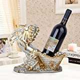 The living room decoration crafts Home Furnishing European wine champagne double horse cart wine rack ornaments ( Color : Silver )