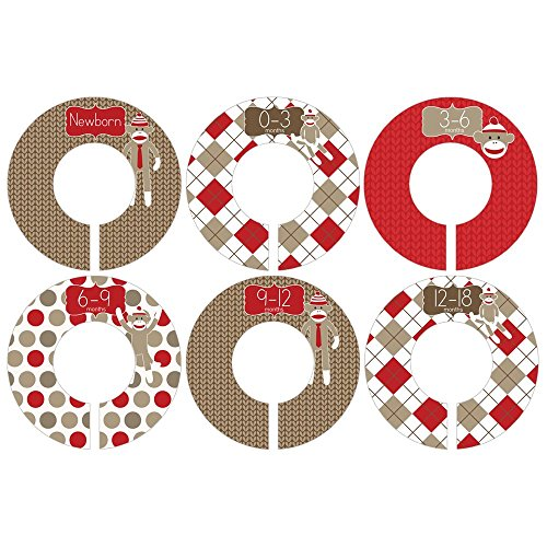Gift Set of 6 Closet Organizer Dividers for Baby and Toddler Clothing with Sock Monkey Designs CDB040