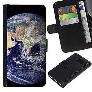 KLONGSHOP / Tirón de la caja Cartera de cuero con ranuras para tarjetas - Space Planet Galaxy Stars 41 - Samsung Galaxy S6 SM-G920
