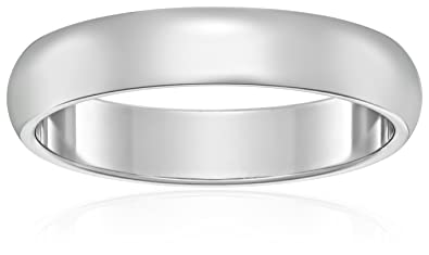 Womens 10k White Gold 4mm Traditional Plain Wedding Band Size 45